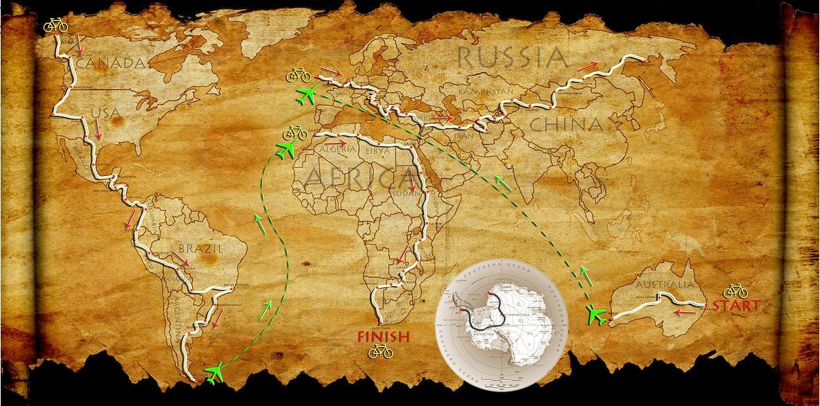 Around 7 Continents cycle map