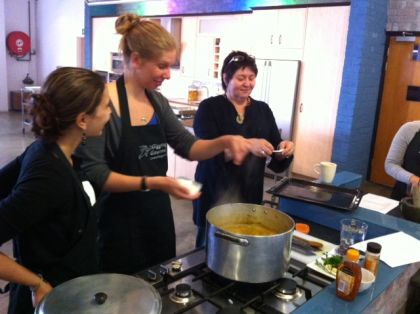 Ricarda and myself trying our hands at Chicken Taijine