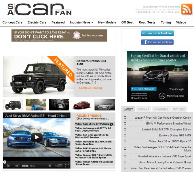 Top 10 Car Websites in South Africa | Drive South Africa