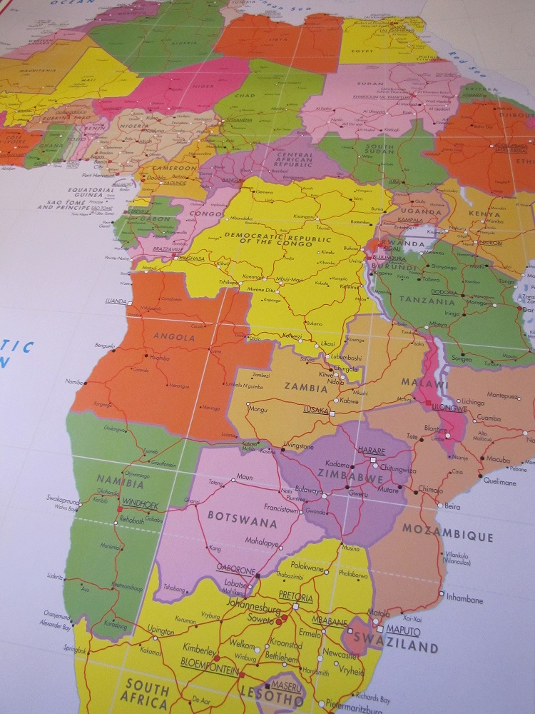 Colourful Africa wall map